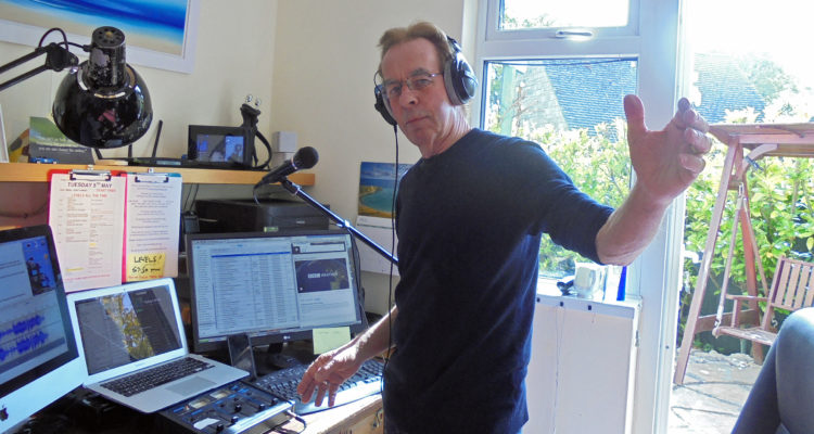 David Hollister broadcasting from home